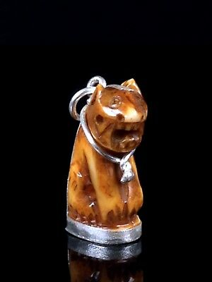 thai buddha amulet old TOOTH CARVE IN TIGER SHAPE LP KONG Fetish Holy magical
