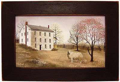 "Primitive Country Rustic "" SPRING AT WHITE FARM "" Wood Framed Art"
