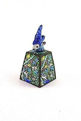 Square Bell, Enamel on Silver Metal, Fish Handle,Rare Antique Qing Dynasty China