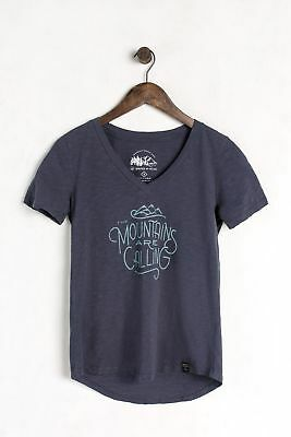 United By Blue Women's Mountains Are Calling Tee, Navy, XS