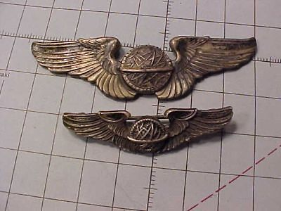 Original Wwii Lot Of 2 Usaaf Navigator Wings - One Sterling