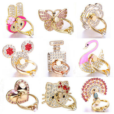 Universal 360° Crystal Bling Finger Ring Metal Grip Stand Holder for Cell Phone