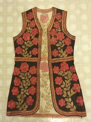 Vintage Afghan vest silk on cotton hand embroidery, floral. Size Small