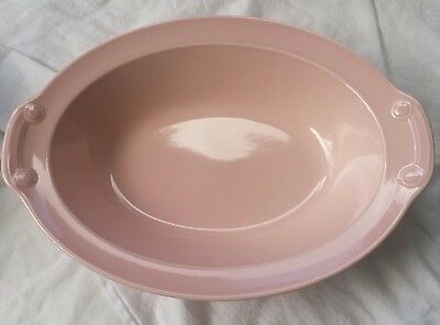 """Vintage T.S.& T. LuRay Pastel Flamingo Pink Oval Serving Dish Bowl 10"""""""