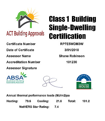 NatHERS Assessment for Building Approval (ACT Only)