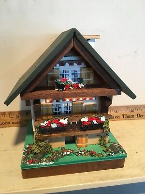 "Vintage Signed Reuge 5"" Swiss Chalet Working Music Box Edelweiss Sound of Music"