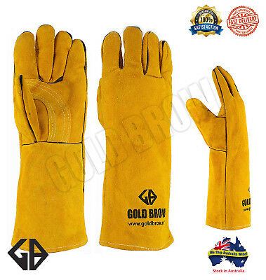 GOLDBROW XL Long Welding Gloves Split Leather Cowhide Protect Welder Hands
