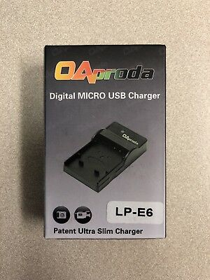OAproda 2 Pack Replacement LP-E6 Ultra Slim Micro USB Charger