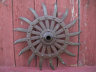 Vintage Cast Iron Spiked Wheel Rotary Hoe Steampunk/Industrial Nice Patina