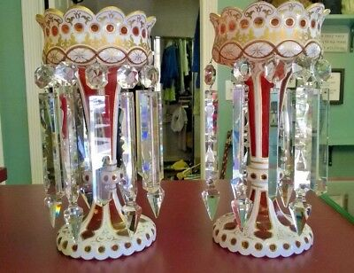 """Two Bohemian Or French Lustres, Crystal Droplets, Height 12-7/8"""" Base 5-7/8"""