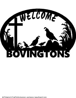 Quail Family 2 Babies  Welcome Sign Cross(Your Name)   Black Powder Coat Finish