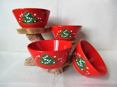 """Set Of 4~ Waechtersbach CHRISTMAS TREE 5"""" Soup~Cereal~Berry~Bowls Red Green"""