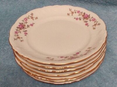 """7 Vintage Wawel Rose Garden China 6 3/4"""" Bread Plates Made In Poland"""