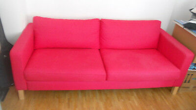 Sofa Polstersofa 3 Sitzer Stoffsofa Couch Holz Karlstad Ikea pink