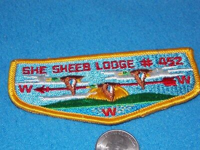 Vintage-She Sheeb Lodge 452 Oa Pottawattomie Council Flap Gold Border Flap- Mint