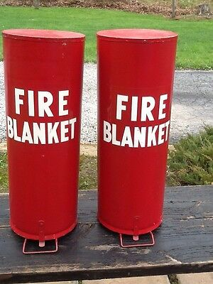 2 Vintage Round Wall Mount Fire Department Rescue Tins W / Blankets - Very Good