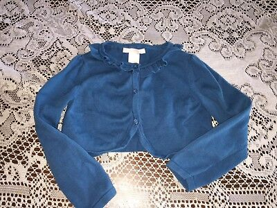 Girl's Janie and Jack Summer Rose Solid Teal Blue Cardigan Sweater Size 3