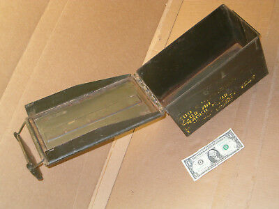 Vintage green metal U.S. military ammo box for cartridges Army Navy Marines tool