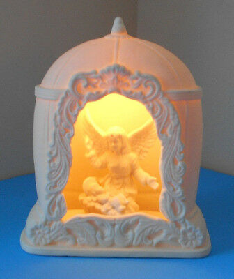 Porcelain Guardian Angel -Baby in Crib Nightlight Lamp Religious childs room