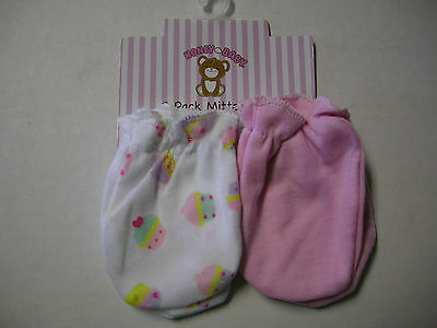 Scratch Mittens, Girl, 2 Pack, Pink & Cupcake Print By Honey Baby, 0-6 Mos., New