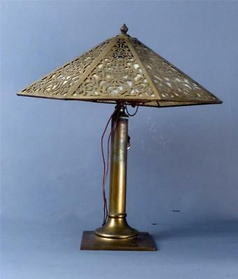 """Antique Brass Table Lamp With Cutout Brass & Slag Glass Shade, 23"""""""
