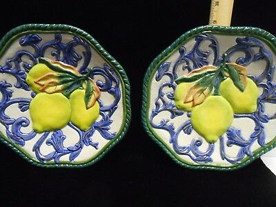 Set of Two FITZ & FLOYD Classic Decorative Wall Plates with Lemons...9""