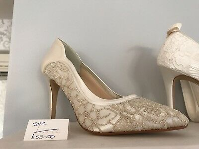 Rainbow Club, Lorna, bridal, wedding shoes, size 4, ivory/gold, satin