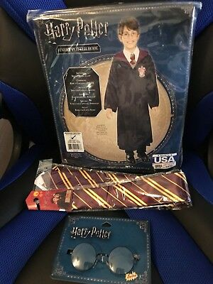 Harry Potter Kids Costume Set Robe Tie & Glasses Brand New Sz Medium