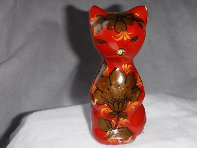 Vintage Oriental Ceramic Hand Painted Flowers Porcelain Cat Figurine Rare Old