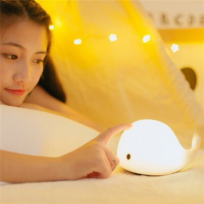 Whale Night Led Light Baby Kid Nursery Child Bed Table Lamp Rechargeable Battery