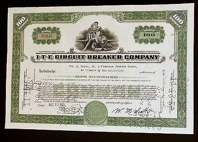 Two ITE Circuit Breaker Company Share Stock Certificates & transfer papers