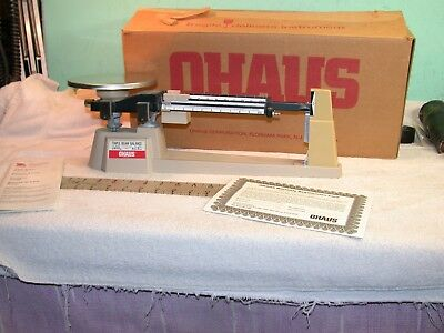 OHaus Triple  beam balance scale 750-50 with original box no extra weights