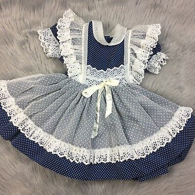 Vtg Betty Oden Toddler Girls Navy White Sheer Swiss Dot Ruffle Pinafore  Dress