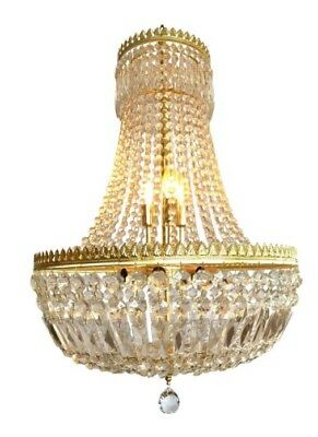 French Louis XVI Empire Style Brass & Crystal Waterfall Chandelier