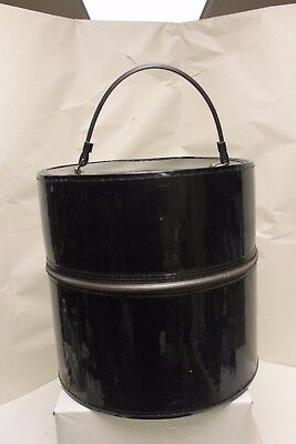 Vintage Black Patent Leather Train Case – Hat Box Luggage – Wig Case