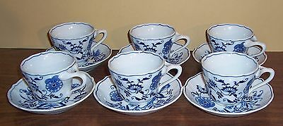 Lot Of 6  Blue Danube Blue Onion Cups Ans Saucers