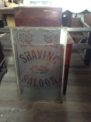 antique Etched Glass Shaving Saloon