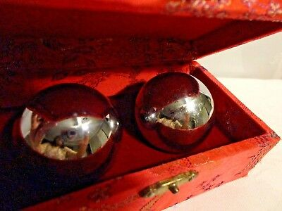 Vintage Baoding Balls Chinese Health Exercise Stress Relief Chrome Color