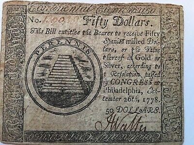 1778 $50 American Revolution Continental Currency