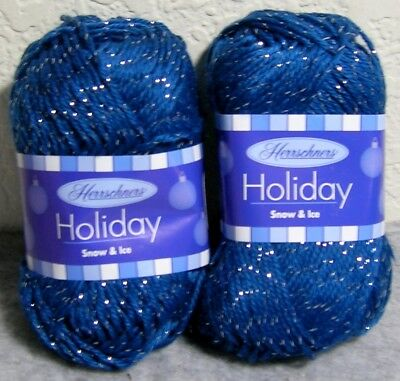 Lot of 2: Herrschners Holiday #4 Sparkle Yarn: Christmas Snow & Ice - Dark Blue