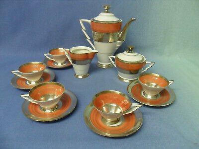 Porzellan Service, Original Art Deco, Sterling Silver on Porcelain Foreign