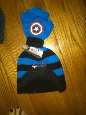 Nwt Boys Captain America Billed Toboggan/hat And Gloves One Size Fits Most