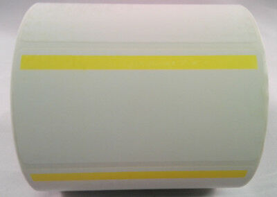 "Thermal Transfer Labels w/0.5"" Yellow Stripe 4x2 1000/Roll 2 Rolls 1"" Core White"