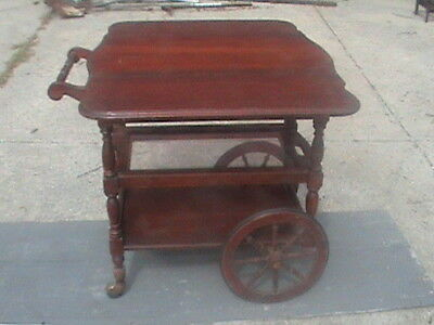 Antique wheeled serving cart fold down top slide out glass pull out draw rare