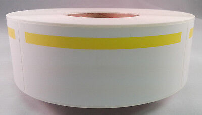 """Direct Thermal Labels w/ 5/8"""" Yellow Stripe 1000/Roll 2.25""""x5.5"""" White - 2 Rolls"""