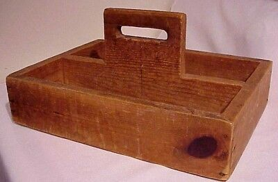 Vintage Handcrafted Wooden Carpentry Or Garden Tool Caddie Box Tote Carrier