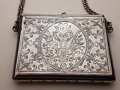 Fine Antique Turkish Ottoman Islamic Persian Solid Silver Niello Box Tugra Mark