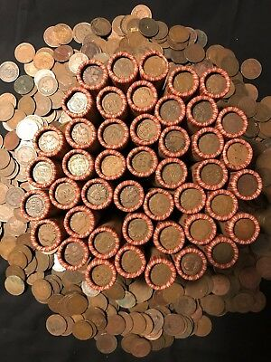 Old Estate Wheat Rolls Indian Head Pennies Showing Rolls Coins Cents Lot Money $