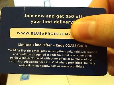 Blue Apron $30 off your first delivery