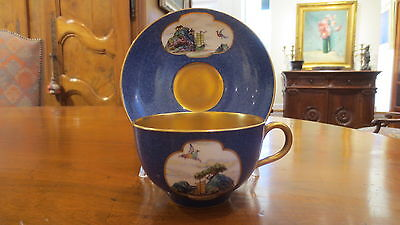 Rare Antique Royal Worcester Asian Painted Cup and Saucer